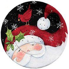 Christmas Rock, Christmas Night, Christmas Projects, Vintage Christmas, Christmas Holidays, Painted Christmas Ornaments, Christmas Plates, Christmas Decorations, Santa Paintings