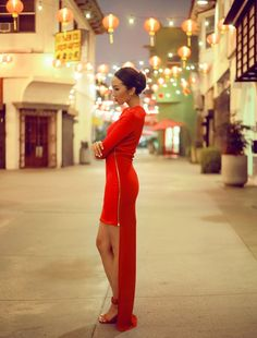 Chriselle Lim is oh so bright in a modern red dress