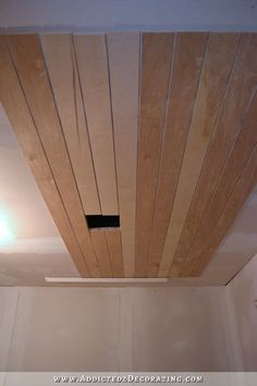Music Room Ceiling Progress - Addicted 2 Decorating® planking ceiling or wall with plywood.