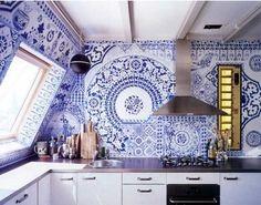 delft tile kitchen- this is stunning! #PSDreamKitchen