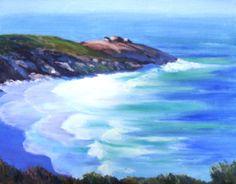 Kangaroo Island Coastline - Yvonne West Kangaroo Island, Australian Artists, Waves, Fine Art, Landscape, Outdoor, Watercolor Painting, Outdoors, Scenery