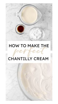 Perfectly sweet, creamy, and delicious! This is the ultimate guide on how to make the perfect chantilly cream every time. Frozen Desserts, Just Desserts, Dessert Recipes, Icing Recipe, Frosting Recipes, Milhojas Cake, Cream Filled Cupcakes, Chantilly Cream, Whipped Frosting