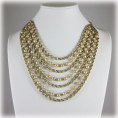 Vintage Multi Strand Gold Tone Faux Pearl Fashion Necklace. $24.00, via Etsy.