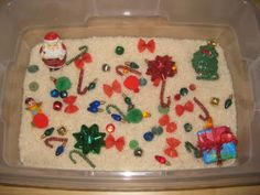 christmas sensory tub - repinned by #PediaStaff.  Visit http://ht.ly/63sNt for all our pediatric therapy pins