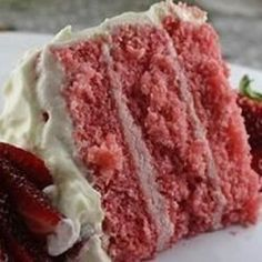 It is hard to find scratch strawberry cakes, so this one is worth it weight in gold to me as a caterer.  Frost with cream cheese or vanilla frosting - or for a treat, use a chocolate glaze!