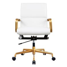 The M330 Office Chair in Gold and White Leather is a fierce addition to your workspace. The chair's minimal design is emboldened with bright gold armrests and gliding base. The crisp white vegan leath