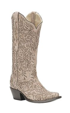 Corral Boot Company Women's Taupe with Floral Overlay Western Snip Toe Boots | Cavender's