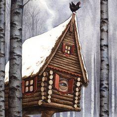 Baba Yaga's Hut - watercolour by Bojana Dimitrovski