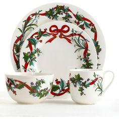 Christmas teapot, Bone China Christmas Teapot fine quality china teapot Holiday Garden ribbons and Holly full size pot Martha Stewart