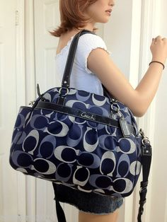 93ddd7f7c4 COACH ADDISON 3 COLOR SIGNATURE TOTE MESSENGER BABY DIAPER BAG NAVY 18376  NEW