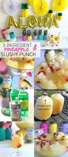 Pineapple Lime Luau Slushy Punch is a party must! Refreshing pineapple and tangy… Pineapple Lime Luau Slushy Punch is a party must! Refreshing pineapple and tangy lime combine favors in this fizzy, fruity, slushy punch that makes enough for a crowd! Aloha Party, Luau Theme Party, Hawaiian Luau Party, Hawaiian Birthday, Luau Party Favors, Hawaiin Party Food, Tiki Party, Hawaii Birthday Party, Luau Party Games