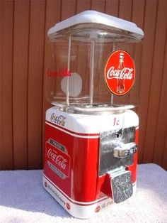 vintage coke signs | Vintage 1940s *coca Cola* Gumball Candy Nut Machine Coke Soda Bottle ...