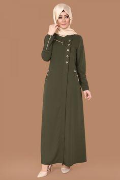 Kuş Gözü Detaylı Ferace Haki Ürün Kodu: AH2114 --> 119.90 TL Modest Fashion Hijab, Abaya Fashion, Skirt Fashion, Fashion Outfits, Turkish Fashion, Islamic Fashion, Muslim Fashion, Hijab Evening Dress, Simple Pakistani Dresses