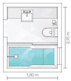 Banheiros pequenos, mas com espaço para tudo - Casa Fitted Bathroom, Small Bathroom, Bathroom Toilets, Bathrooms, Bathroom Floor Plans, Bathroom Flooring, Toilet Design, Bath Design, Bathroom Layout