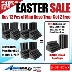 Beat the Easter Rush with Arrowzoom SUPER SALE!  Buy 12 pieces of Mini Bass Trap and GET 2 pieces for FREE! SHOP NOW: www.Arrowzoom.com/products/12-pieces-12-x-12-x-24-cm-mini-bass-trap-2-free-mini-bass-trap PROMO RUNS: March 30 - April 6, 2017 ONLY!  NOTE: Applicable only for 12 x 12 x 24 cm (4.7 x 4.7 x 9.4 Inches) Mini Bass Trap.   #ArrowZoom #acousticfoam #soundproofing #soundproof #noiceabsorption #theater #sounproof_foam #Discount #Sale #giveaway