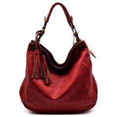 Monroe Red V-Pattern Embossed Hobo Handbag ($65) ❤ liked on Polyvore featuring bags, handbags, shoulder bags, red hand bags, red shoulder bag, faux leather shoulder bag, hand bags and vegan purses