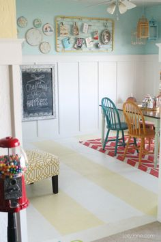 Yellow and white painted concrete floors, quick tutorial! Home renovation ideas!