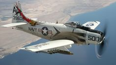 Vintage Planes There were a few holdouts to the advent of jets after WWII, notably the straight winged Douglas Skyraider (more than were built). Navy Aircraft, Military Aircraft, Fighter Aircraft, Fighter Jets, Douglas Aircraft, Ww2 Planes, Thing 1, Jet Plane, Nose Art