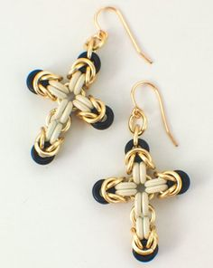 Fasy and Easy Premium Rubber Chainmaille Cross Kit - Earrings and Pend – Creating Unkamen Jump Ring Jewelry, Wire Jewelry, Beaded Jewelry, Jewelery, Handmade Jewelry, Handmade Dolls, Wire Earrings, Heart Earrings, Cross Earrings