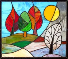 Stained Glass Panel Change of Seasons MADE TO by FleetingStillness