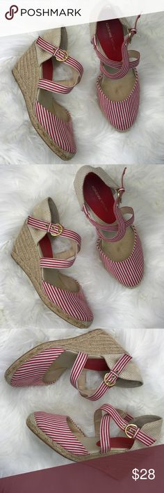 Adrienne Vittadini Straw Wedges Adrienne Vittadini Straw Wedges ; Strappy striped white and red gold buckled Closure Adrienne Vittadini Shoes Wedges