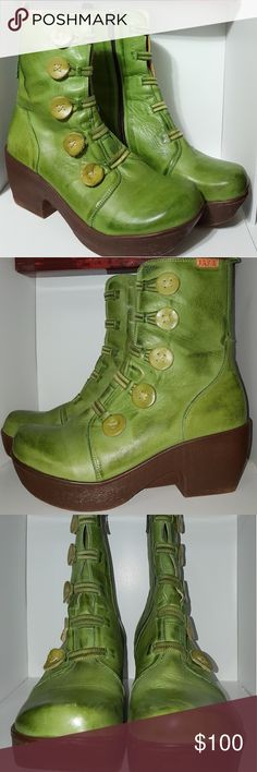 Jafa 671 Green Apple boots size Euro 38, US 8 Looks brand new! Gently worn in excellent condition. The right boot has a small blemish on bottom of the sole.  Mid-shaft green apple colored geniune leather boot with comfortable platform base. This boot features an inside zip and has signature button embellishment with elastic laces. Handmade in Israel by Jafa shoes. Jafa Shoes Shoes