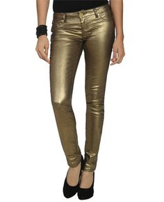 gold metallic skinnies