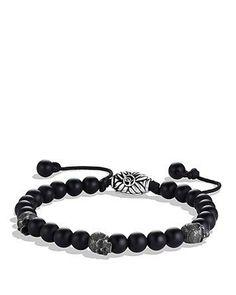 David Yurman Spiritual Beads Skull Bracelet With Black Onyx