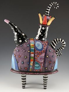 Whimsical Purple Teapot with Striped Legs,  hand built, carved and painted with glaze and under-glaze. Fully functional