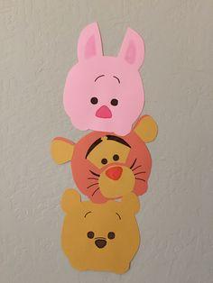 Construction paper Tsum Tsum decorations- Pooh, Piglet, Tigger