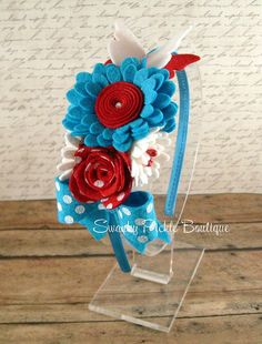 Turquoise Red & White Wool Felt Flowers on by SwankyPickleBoutique, $16.95