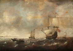 JACOB ADRIAENSZ BELLEVOIS ATTRIBUTED TO, COASTAL PICTURE WITH SHIP