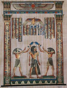 Egyptian Gods Horus and Thoth coronate Pharaoh Seti I