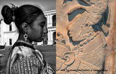 Los Mayas de Chiapas, Ayer y Hoy  Foto de la Izquierda: Mujer de San Cristóbal de las Casas. Foto de la Derecha: Dintel 26 de Yaxchilán  Imagen vía Cultura y Lengua Maya