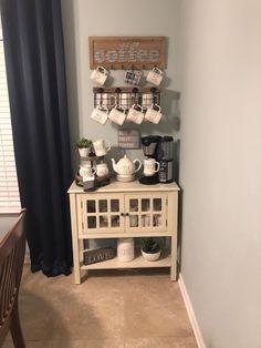 40 Ideas For Coffee Cabinet Organization Coffee Nook, Coffee Bar Home, Home Coffee Stations, Coffee Corner, Coffe Bar, Coffee Break, Coin Café, Coffee Cabinet, Coffee Station Kitchen
