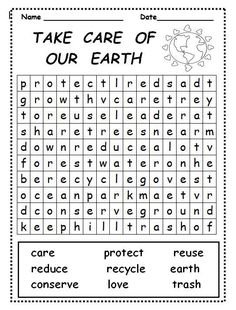 Take Care of Our Earth word search is great for use during Earth Week, a Lorax… Word Puzzles For Kids, Word Search Puzzles, Kids Word Search, Science Word Search, Earth Day Crafts, Earth Hour, Earth Day Activities, Grammar Lessons, Writing Lessons