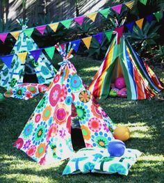 gorgeous colourful teepees