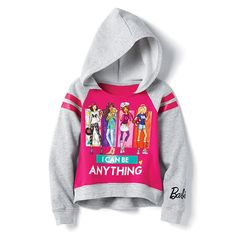 Inspire at a young age! The super-stylish Barbie sweatshirt with highlow hemline features the important message 'I CAN BE ANYTHING'. Regularly $24.99, shop Avon Kids online at http://eseagren.avonrepresentative.com