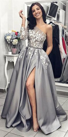 chic lace one shoulder long sleeves grey split prom party dresses 6975bc3add6c