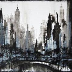 """Saatchi Art Artist Irina Rumyantseva; Painting, """"Black And White Skyline 2"""" #art"""