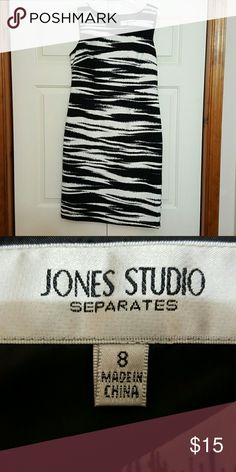 "Zebra sheath dress Beautiful size 8 Jones Studio sheath. Great for work with strappy heels in summer or tights and boots in winter. Only worn once. 39"" shoulder to hem. 19"" flat across bust. Jones Studio Dresses"