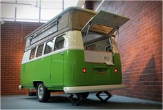 Oregon-based Dub-Box build camper trailers inspired by one of the most famous and long-lived Hippiemobiles, the VW Microbus. Based on the iconic Kombi, the Dub Box is made of fiberglass and comes fitted with standard features such as a stainless stee