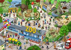 Zoo picture for talk Zoo Pictures, Hidden Pictures, Teaching Spanish, Teaching English, Talk 4 Writing, Meaningful Sentences, Le Zoo, Zoo 2, Picture Composition