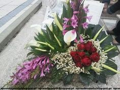Funeral Flower Arrangements, Funeral Flowers, Floral Arrangements, Altar Flowers, Arte Floral, Ornamental Grasses, Orchids, Diy And Crafts, Tropical