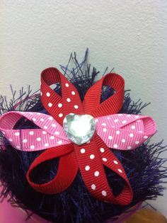 Hairbow Ribbon Flower Red Pink Polka Dot on by DirtRoadCrafter, $3.50