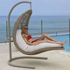 Cradle Hanging Chair – Shop Elegant Home Decor & More - Modern Outdoor Wicker Chairs, Outdoor Lounge, Outdoor Sectional, Outdoor Furniture, Dining Chairs, Furniture Ideas, Furniture Online, Adirondack Chairs, Lounge Chairs