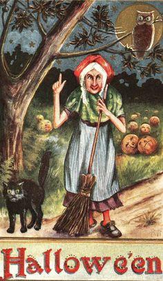 Vintage Halloween Witch, Owl & Black Cat.