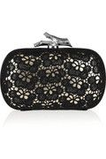Diane von Furstenberg - Small Lytton Lace leather clutch, Metallic-champagne leather front (Lamb), black glossed leather back (Cow)
