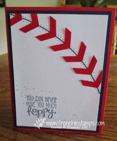 handmade card from Stamp & Scrap with Frenchie: Baseball for Masculine Monday ... luv how she evokes a basebal with a curved line, red chevrons and piercing ... great card! ... Stampin'Up!