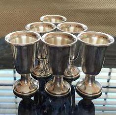 Lot of 6 vintage sterling silver glass for vodka Lot 287